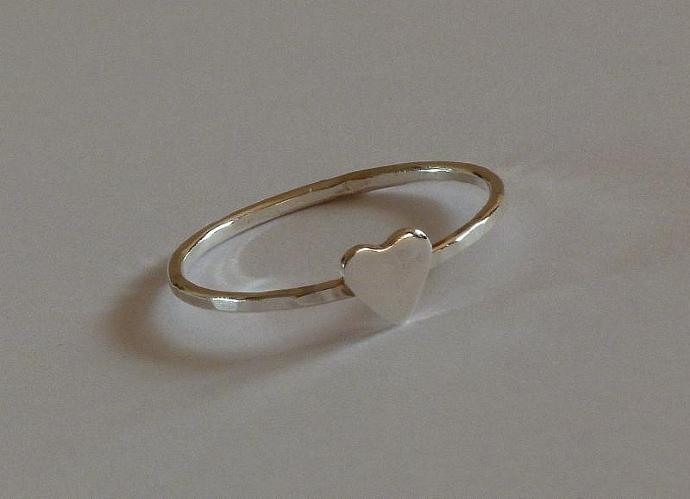 Sterling Silver heart ring - wedding ring - engagement ring - friendship ring -