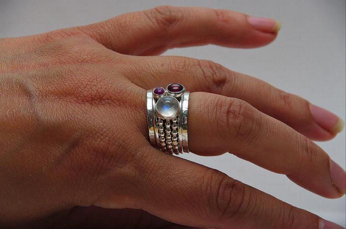 Pink Tourmaline Ruby Rainbow Moonstone Birthstone Ring Mothers Ring Birthstone