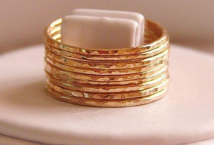 10 skinny  bands  hammered stackable rings 14k gold filled size MADE TO ORDER,