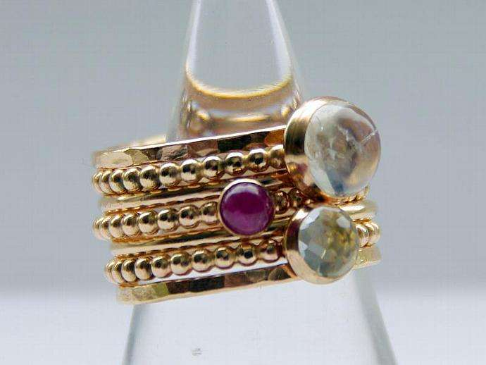 Rainbow Moonstone Ring - YELLOW or ROSE Gold Filled Stacking Ring - Stackable