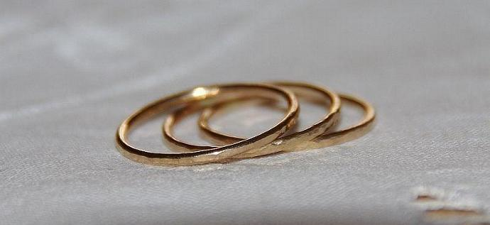 ONE 14k gold filled dainty, stack/stacking/stackable slim thumb ring /band -