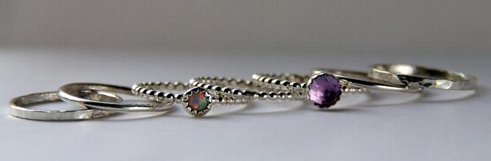 Opal & Amethyst Stackable Birthstones Mothers rings - Personalized Jewelry -