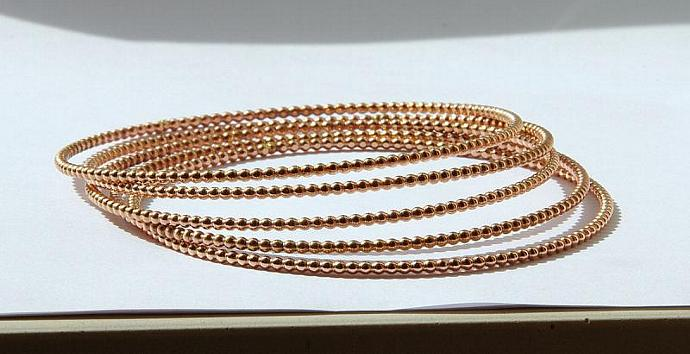 14k ROSE Gold Filled Stacking Bangle - Rose Gold Filled Stackable Bangle - Rose