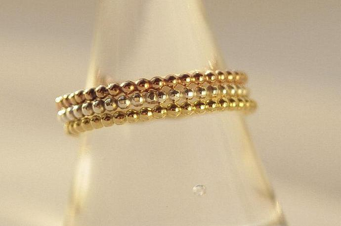 Tri color set of 3 Bands Yellow, Rose Gold, Silver Stackable Ring Set Mother's