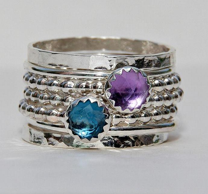 Stacking Ring Sterling Silver - Amethyst Gemstone - London Blue Topaz Gemstone -