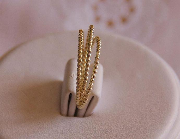 Handmade 14k solid yellow gold beaded stacking rings engagement rings wedding