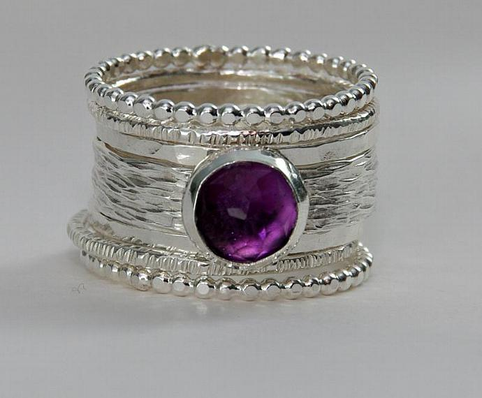 Unique Rose Cut Purple Amethyst Wedding Ring - Alternative Engagement Ring -