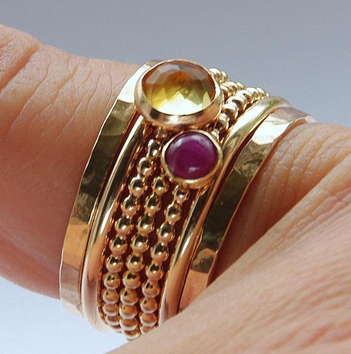 Ruby & Citrine Stackable Birthstones Mothers rings - Personalized Jewelry -