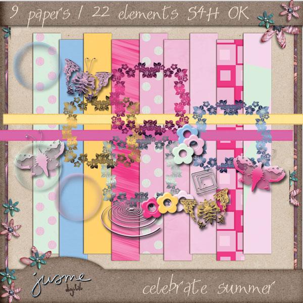 celebrate summer digital scrapbooking mini kit