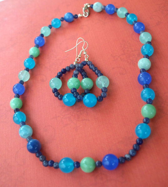 Summer Blue -Quartz Necklace and Earrings