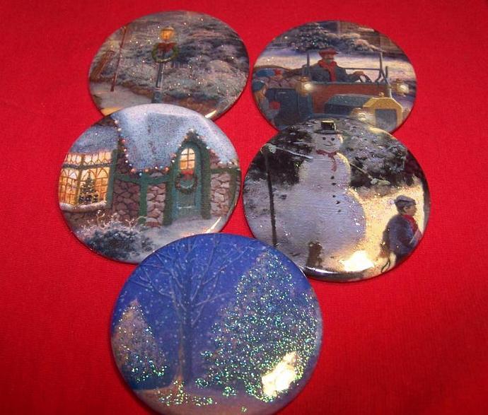 Glittery Winter Scenes - 5 pins OOAK