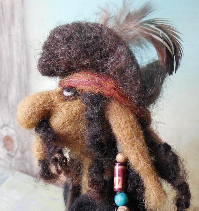 Needle Felted Pirate Troll, Captain Sigurd OOAK Wool Sculpture Art Doll,