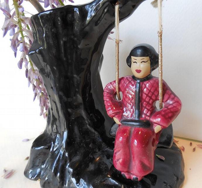 Vintage Asian Vase, Girl On A Swing Flower Vase