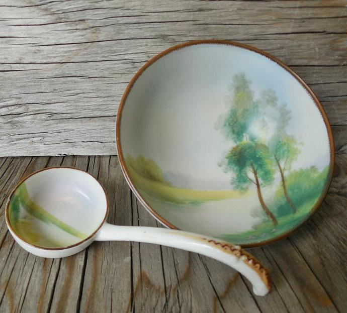 Noritake Footed Dish With Spoon, Landscape Scene, Mayonnaise or Whipped Cream