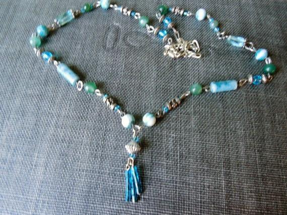 Demin Blue Beaded Necklace, Blue, Silver and Jade