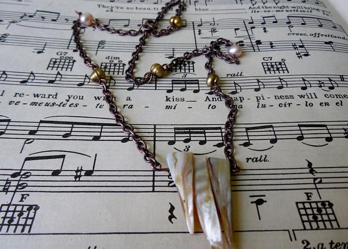 Tribal Necklace, Shells, Freshwater Pearls, Copper Chain