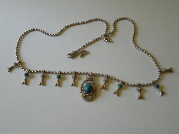 Western Style Faux Turquoise Necklace, Vintage 1980's Faux  SouthWest Style