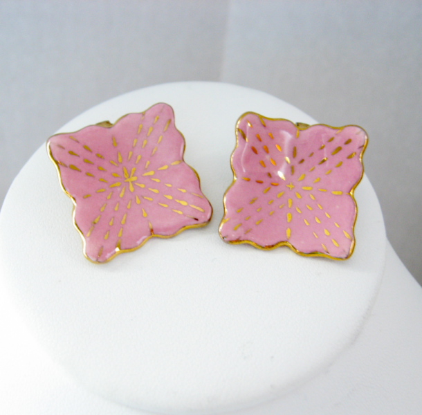 Vintage Pink Gold Square Scalloped Porcelain Earrings