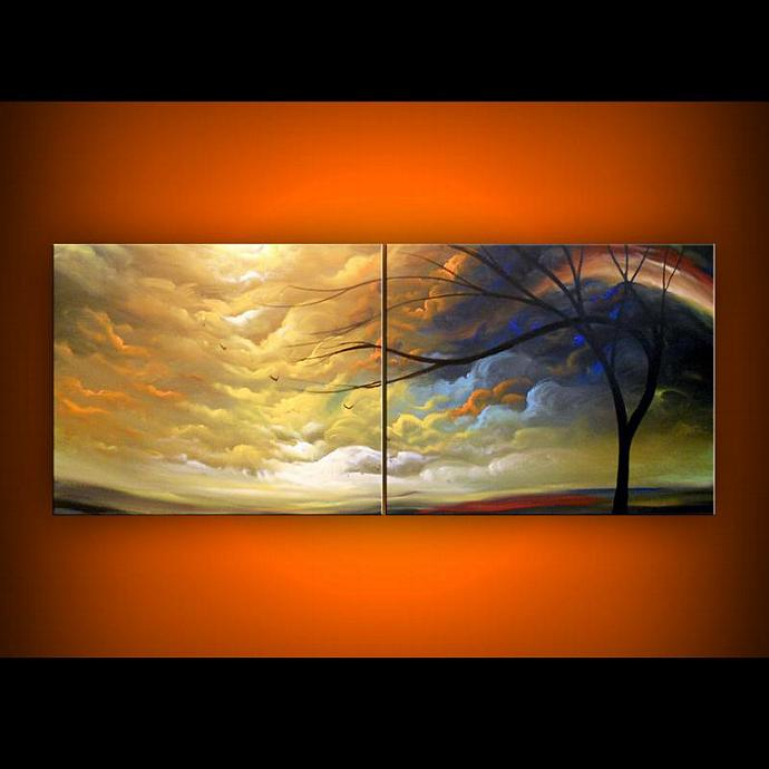 tree painting original art painting abstract landscape painting 56 x 22 Mattsart