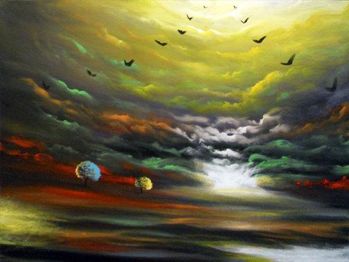 canvas painting landscape art oil original large tree art cloud painting  56 x