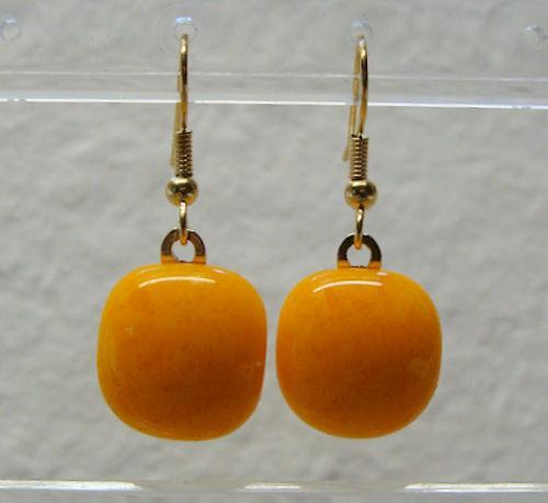 Fused Glass Square Marigold Gold Fishhook Earrings