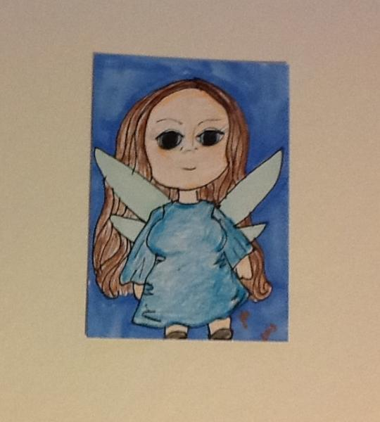 Original marker colored pencil ACEO Faerie Blue art card drawing