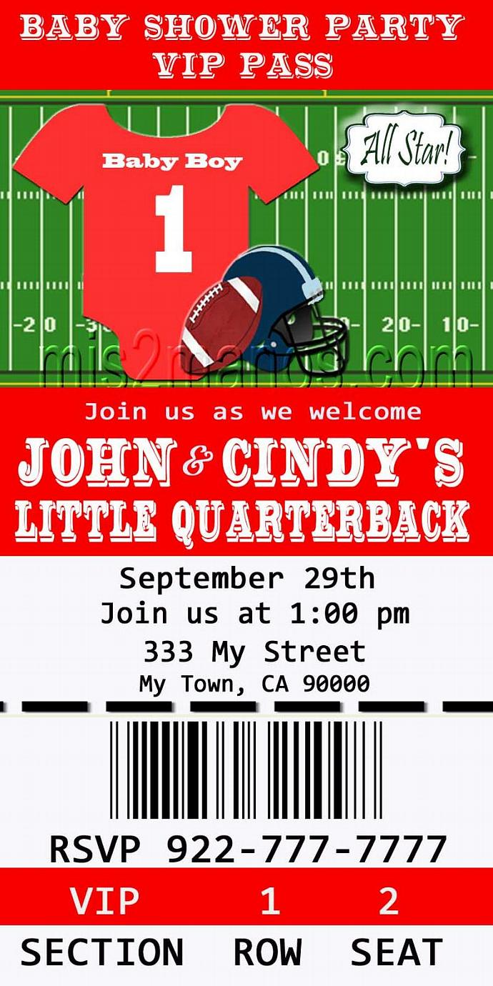 Football Baby Shower Printable Ticket Invitations, Printable Photo Card, DIY