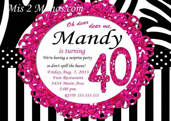 30th Birthday 40th Surprise Party Hot Pink Zebra – 40th Surprise Party Invitations