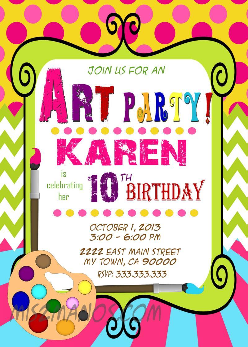 Art Party Invitation Art Birthday Paint – Art Party Invitation