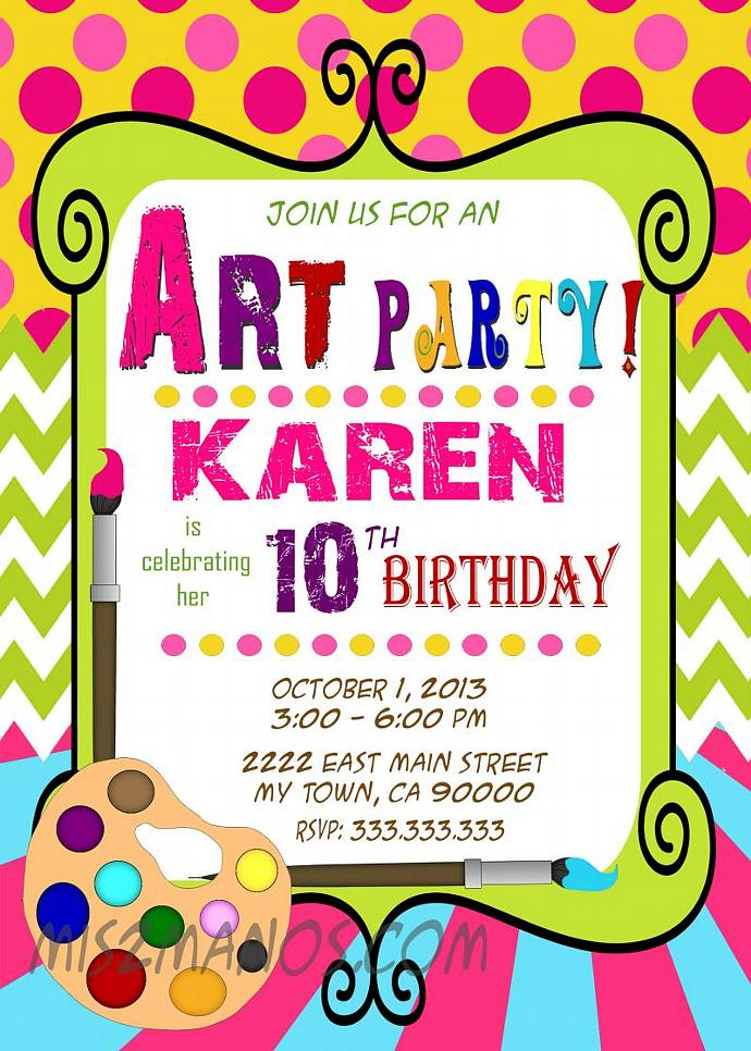 art party invitation - art birthday - paint by mis2manos on zibbet, Birthday invitations
