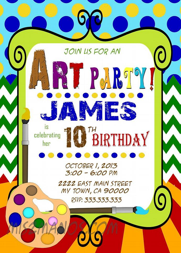 Art Party Invitation - Art Birthday - Paint Party - Printable Party - girl