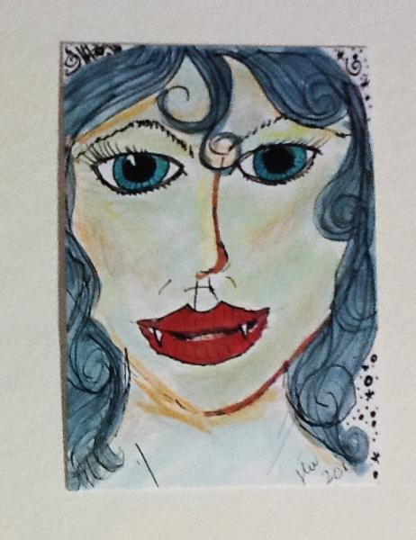 Original Art card drawing Vampire Beauty ACEO Halloween macabre spooky ATC