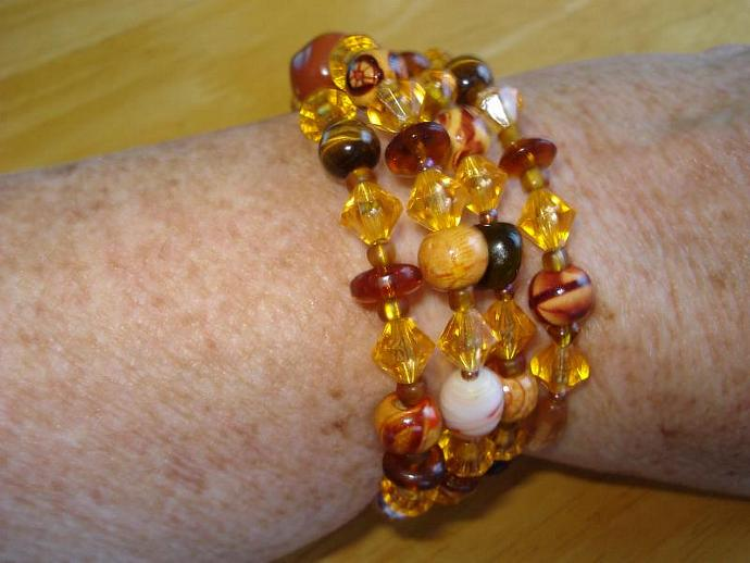 Awesome Amber  -  Beaded Memory Wire Bracelet