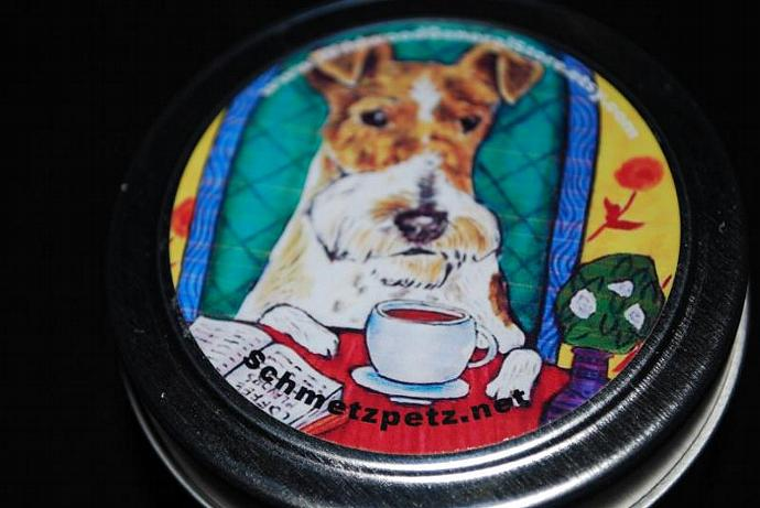 Scented Soy Candle - Fox Terrier at the Coffee Shop -  4oz candle