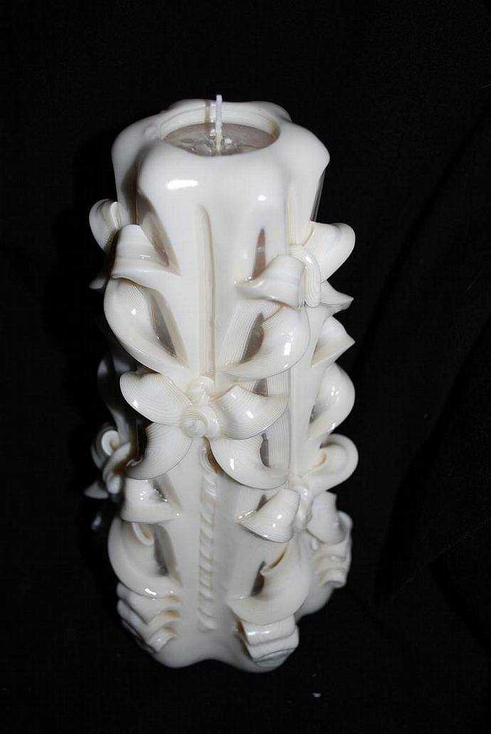 Hand Carved White Wedding Unity Candle Cut and Curl Candle