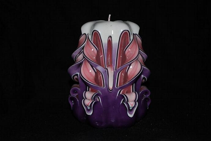 Handmade Pink and Purple Butterfly Cut and Curl Candle