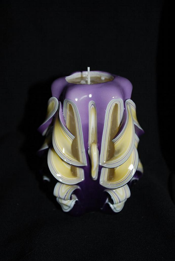 Hand Carved Purple and Yellow Butterfly Cut and Curl Candle