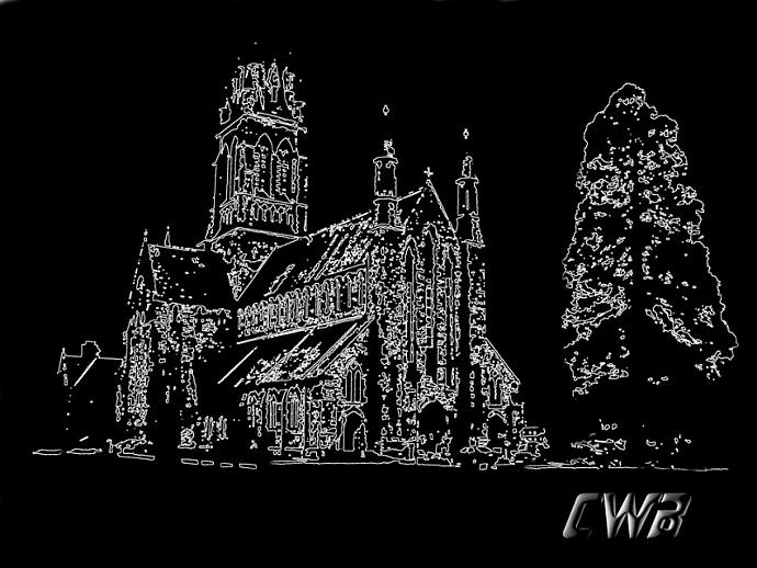 Killarney Church  fine art print in black & white