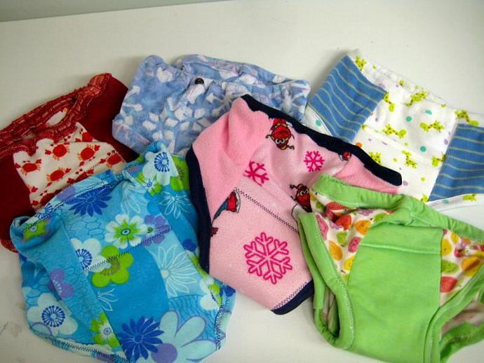 Set of 6 Reusable Cloth Potty Training Pants - Random Girl Prints in Size 3T-4T