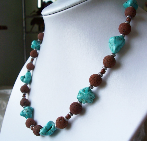 Turquoise and Natural Red Lava Bead Necklace