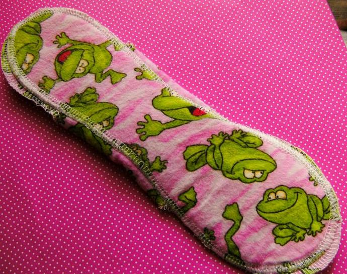 Happy Pink Frog--10 inch--Comfy Cloth Sanitary Pad--Medium to Heavy
