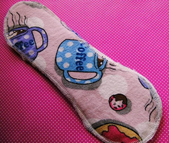 COFFEE and DOUGHNUTS--10 inch--Comfy Cloth Sanitary Pad--Medium-Heavy