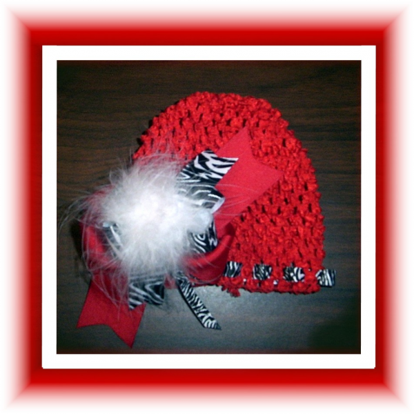 RED Stretch Beanie Cap Black Zebra Ribbon Marabou  FREE SHIPPING