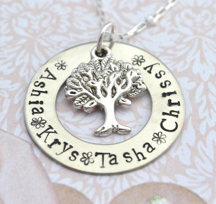 Extra Large Personalized Family Tree Necklace, Hand Stamped, Personalized