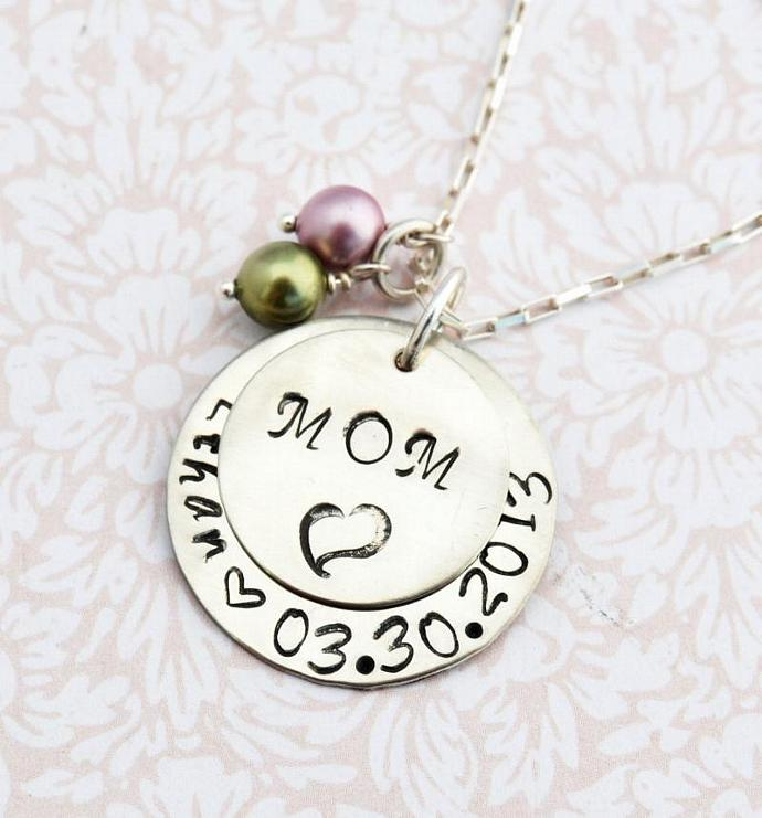 Hand Stamped MOM Necklace with Pearls, Personalized Necklace, Gift, Mother's Day