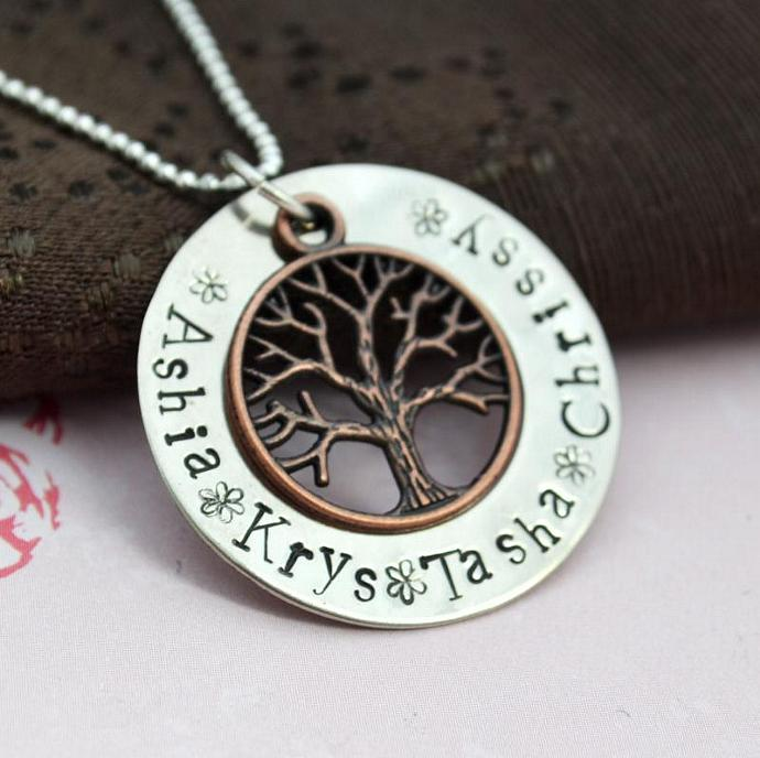 Extra Large Personalized Brass Family Tree Necklace, Hand Stamped Personalized