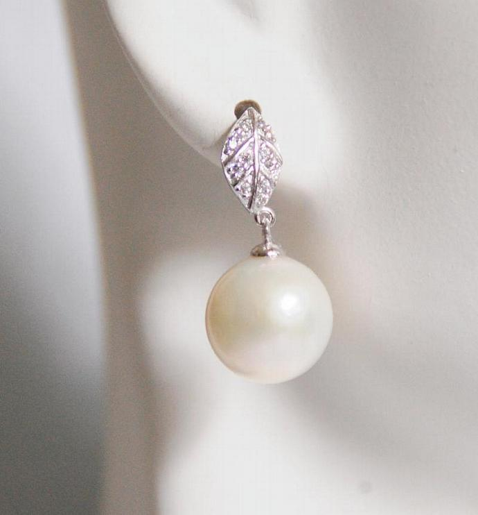 Natural South Sea Pearl Earrings - Pearl Dangle Drop Earrings-Wedding Jewelry