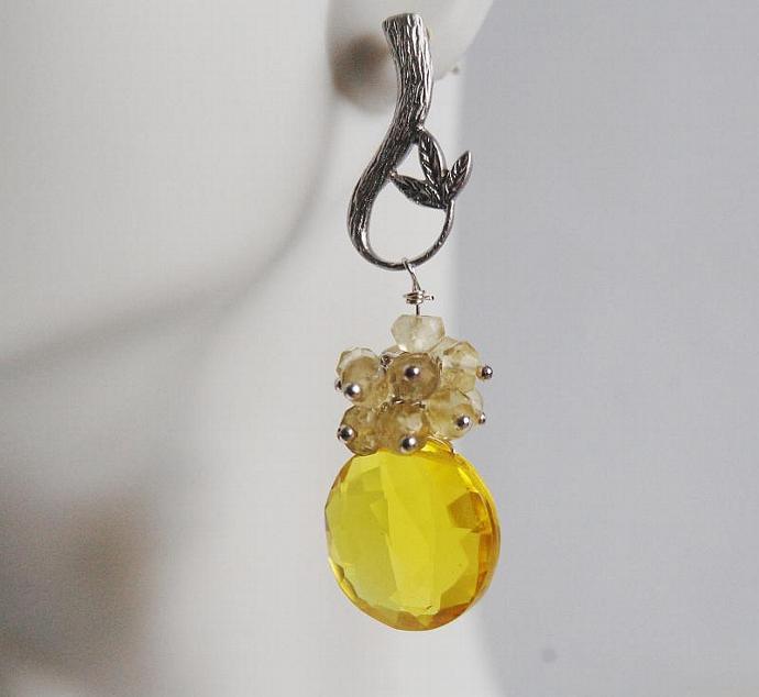 Gemstone Madeira Quartz and Yellow  Quartz Cluster  Drop Dangle Earrings-