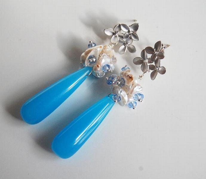 Blue Quartz - keishi pearl cluster Dangle Earrings-  Sky Blue Long Drop Cluster