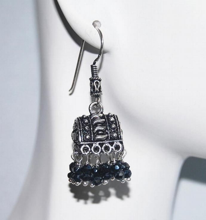Chandelier Earrings - Black Spinel Chandelier Earrings - Jhumka Earrings-